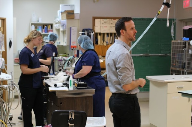 Dr. Shawn Llewellyn of Paws for Hope gets ready for a busy day along with five other veterinarians, technicians and our VOKRA volunteers.