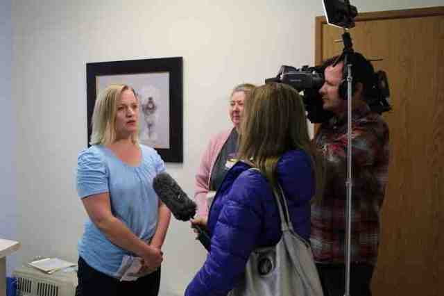 Kathy Powelson, Executive Director of Paws for Hope, is interviewed by Global TV news along with Alannah Hall, Chair of  VOKRA's Board of Directors.