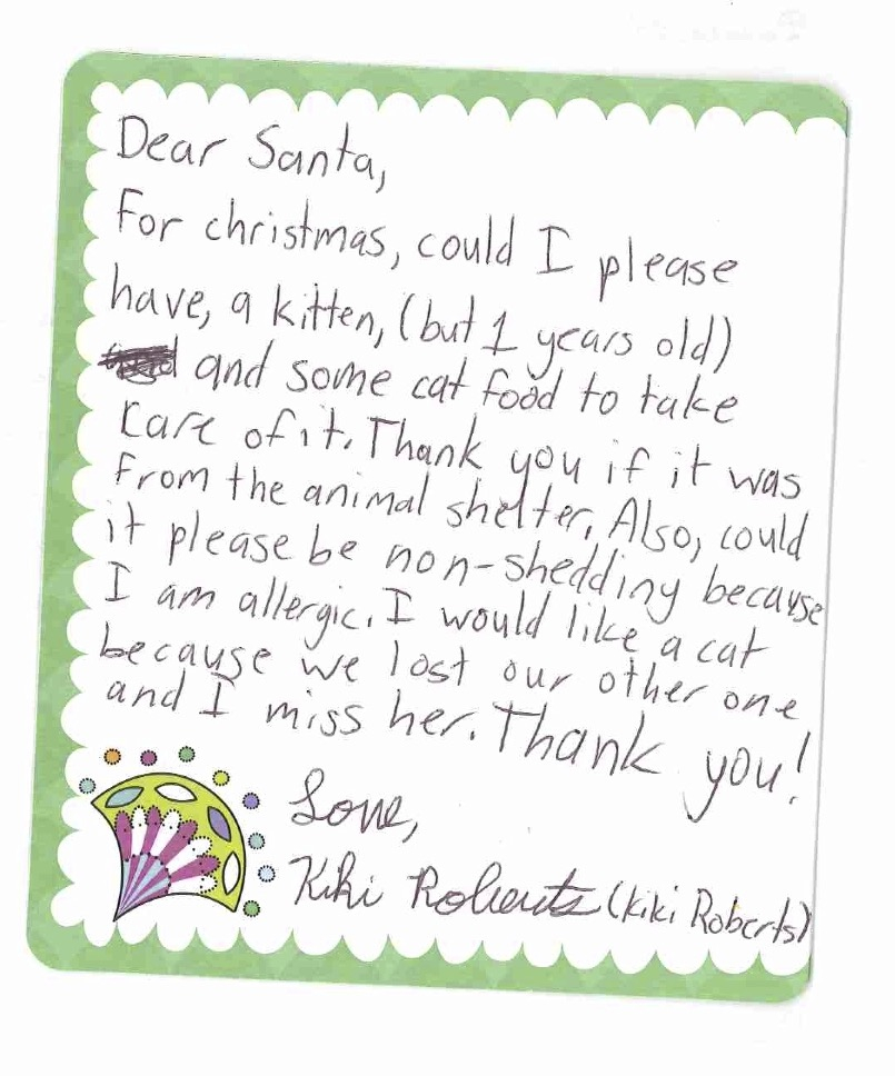 Letter to santa the vokra blog you see when santa received her letter he knew exactly what to do it just so happens that santa understands how many spiritdancerdesigns Image collections