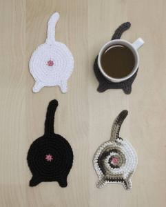 Cheeky cat bum coasters, as part of the catalogue.